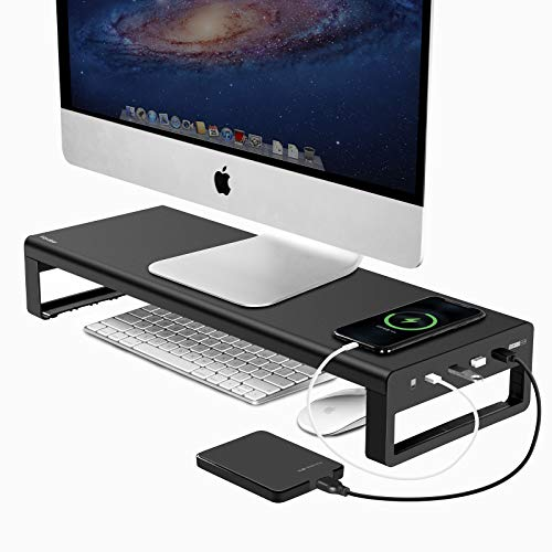 Dual Monitor Stand Riser with 8 USB 3.0 Hub Ports, Aluminum Strong&Sturdy for Computer, TV, PC, Printer, Multi Media Speaker-Multifunctional Desktop Organizer