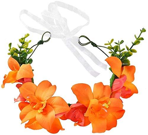 LQXZJ Lilien-Blumen-Stirnband-Haar-Kranz mit Blumengirlande Crown Kopfbedeckung Haarschmuck for Hochzeit Strand-Party-Fotografie (Color : Yellow)