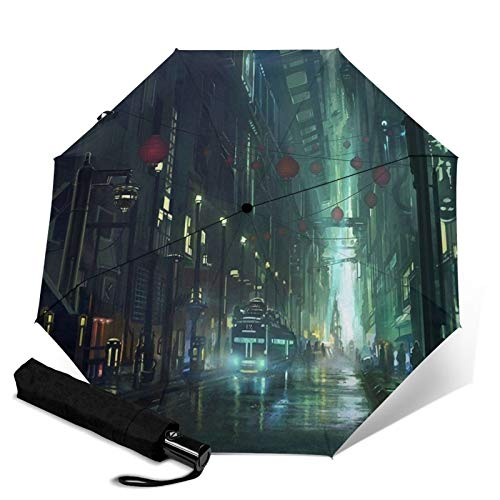 Anime City Night View,Folding Umbrella, Windproof, UV Protection, Compact Umbrella for Travel, Daily Use