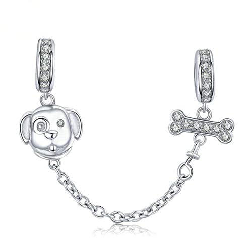 Heart Clasp Safety Chain Charm Authentic 925 Sterling Silver Clip Lock Stopper Charm Spacer Beads for Charms Bracelets (Dog Charm)