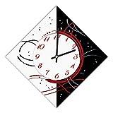 Reloj de Pared, Ancho 42 x 42 cm y Lado 30 cm, Esfera de Madera recubierta con Papel Laminado Mate...