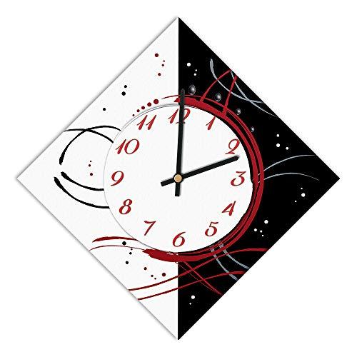 Horloge Murale, Largeur 42 x 42 cm et côté 30 cm, Cadran en Bois recouvert de Papier plastifié Mat imprimé – Convient pour Salon, Cuisine, Bureau – mécanisme Silencieux.