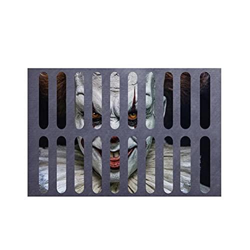 TBEONE Felpudo de entrada, 3D Terror impresión Halloween payaso puerta Mat Payaso piso alfombra de bienvenida para Halloween puerta de la casa, sala de estar, cocina decoración