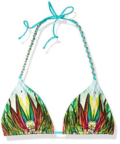Sauvage Damen Jade Costa Rice Gold Kette Triangle Bikini Top - Türkis - Large