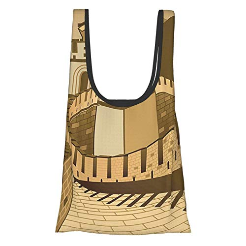 Asian Decor Great Wall Of China With Ancient Castle At Sunset Silk Road Barrier Old Cultural Heritage Print Cream Reusable Fold Eco-Friendly Shopping Bags