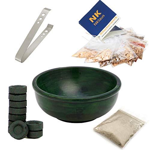 NKlaus Set de Incienso mágico con Cuenco de Incienso de esteatita 11cm Verde + Muchos Accesorios 40617