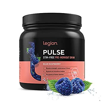 Legion Pulse Best Caffeine Free Natural Pre Workout Supplement for Women and Men – Powerful Nitric Oxide Booster Non Stimulant w/Beta Alanine Citrulline and Alpha GPC  Caffeine Free Blue Razz