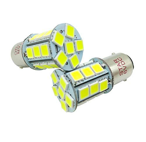 JAYUN 2 × BA15D 6V 1142 1076 1158 1178 LED Ampoules de voiture, Super Bright 24-SMD 5050 Remplacement pour Marine Bateau RV Camper Moto Remorque Intérieur Lumière, Blanc 6000K