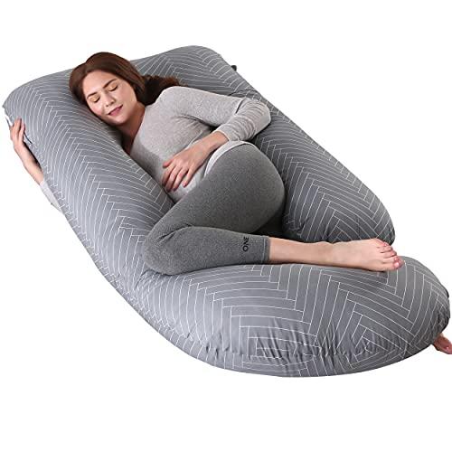 ARNTY Coussin de Grossesse XXL,Oreiller de Grossesse pour Dormir en Forme de U,Coussin Grossesse Maternité avec la Couverture Remplaçable et Lavable (Rayures Gris)