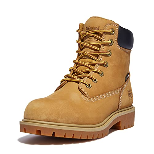 Timberland PRO Women's Direct Attach 6 Inch Steel Safety Toe Insulated Waterproof Industrial Work Boot, Wheat Nubuck, 8.5