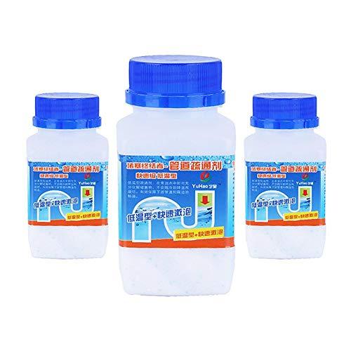 happygirr 3 unidades de potente desatascador de desagües, limpiador de inodoro, limpiador de espuma rápido, polvo químico, eliminación de olores, desodorante para la cocina del baño