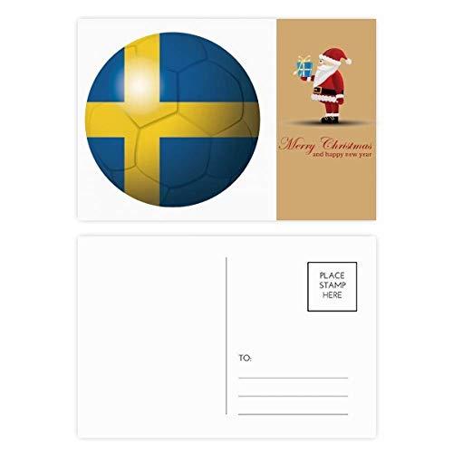Postkarten-Set mit Schweden-Flagge, Fußball, Weihnachtsmann, 20 Stück