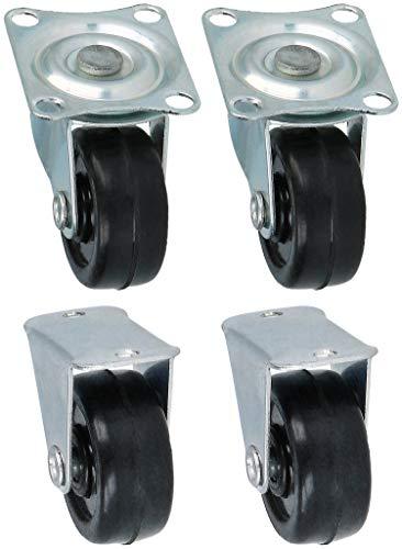COM-FOUR® 4 kleine wielen om vast te schroeven - meubelzwenkwielen 2x met en 2x zonder zwenklagers - transportwielen met zwenklagers (04 stuks - 30mm 80kg zonder rem)
