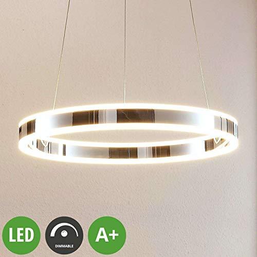 Lucande LED Pendelleuchte 'Lyani' dimmbar (Modern) in Chrom aus Metall u.a. für Wohnzimmer & Esszimmer (1 flammig, A+, inkl. Leuchtmittel) - Hängeleuchte, Esstischlampe, Hängelampe, Hängeleuchte