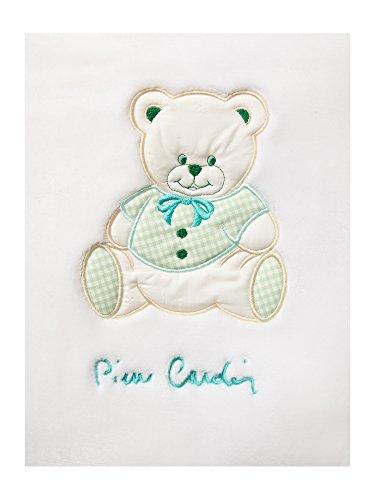 Pierre Cardin bordado manta para bebé oso verde verde Talla:110x140 cm Approx.