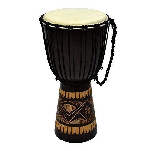 Djembe Trommel Buschtrommel Afrika-Style geschnitzt Handarbeit exotische Motive Schnüre Knoten Ziegenfell schwarz braun Größe wählbar (50 cm)