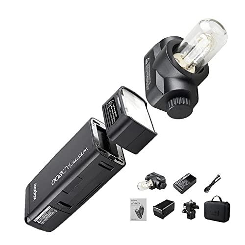 【PSE認証取得&日本語説明書付き】Godox AD200 ポケット TTL スピードライト フラッシュ ポータブル ミニ 2個ライトヘッド付き GN52 GN60 1 / 8000s HSS 2.4Gワイヤレス Xシステム 200W強力パワー Nikon Sony Canon EOSカメラ用 (Godox AD200) JPプラグ