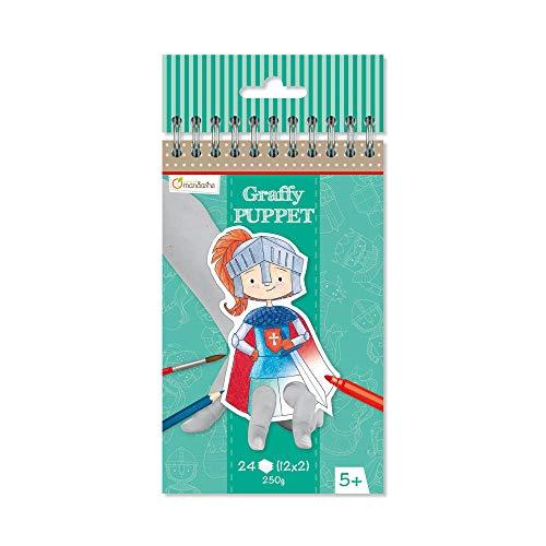 Avenue Mandarine GY009O Malblock Graffy Puppet, 250g Zeichenpapier mit je 12 Motiven x 2, ideal für Kinder ab 5 Jahren, 1 Stück, Drachen und Ritter
