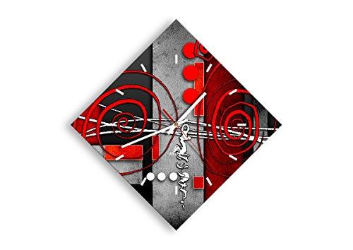 Orologio da parete - Romboidale - Grafico figure geometriche cerchio - 42x42cm - Orologio da parete - Orologio in Vetro - Orologio Da Muro - Moderno - Decorazione Parete - Home Decor - C3AD30x30-0599