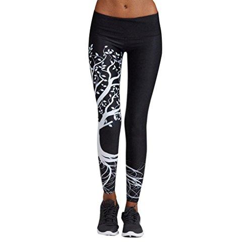 Homebaby A forma di Cuore Leggings Sportivi Donna - Maglia Eleganti Leggings Sport Opaco Yoga Fitness Spandex Palestra Pantaloni Leggins Push Up - Pantaloni Tuta Donna (M, Nero-albero)