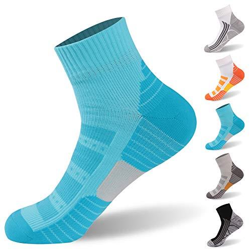 Waterproof Socks, RANDY SUN Breathable Golf Socks Running Socks,Ankle Athletic Socks,Coolmax Socks Multisport Unisex Socks, 1 Pair-Blue Medium