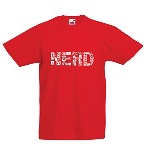 lepni.me Kinder Jungen/Mädchen T-Shirt Nerd - Programmierer oder Gamer lustige Geschenkidee (3-4 Years Rot Mehrfarben)