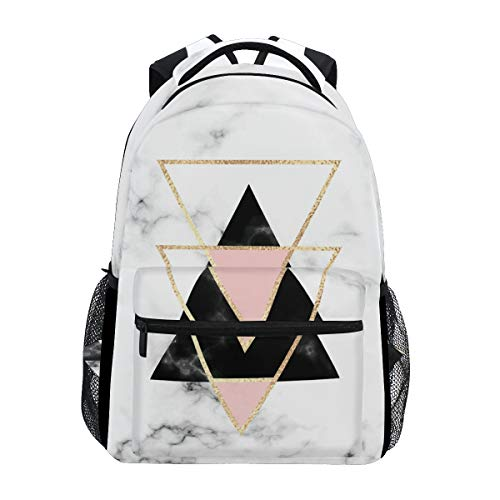Geometric Marble Stone Travel School Laptop Backpack for Girls Boys Kids, Gold Black Triangle Water Resistant College Bookbags Elementary School Bags Computer Outdoor Daypack Bookbag for Men Women