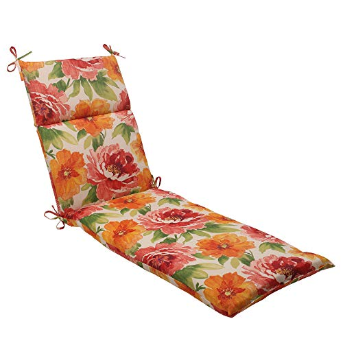 "MISC 72"" Lounge Cushion Green Orange Red Flowers Garden Floral Outdoor 6ft Patio Chaise Pad for Lounger Long Oversized Rectangle Shaped Water Resistant All Weather, Polyester"