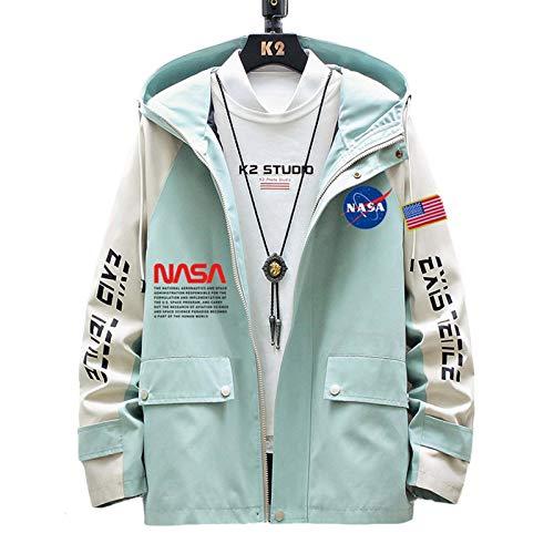 LLGHT NASA mit Kapuze Pullover für Männer und Frau, Jacke MA-1 Bomberjacke mit Kapuze Herren, Briefdruck NASA Astronaut Air Force Casual Jacket (Color : Green, Size : XXX-Large)