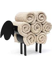 DanDiBo Handdoekhouder staand zwart schaap handdoekrek gasten badkamer gastendoekhouder