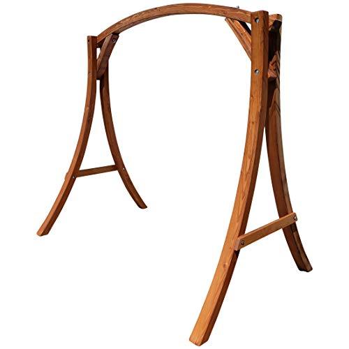 ASS Holzgestell Gestell für Hollywoodschaukel Hollywoodschaukelgestell MERU aus Holz Lärche mit Dach für innen und außen ohne Sitz