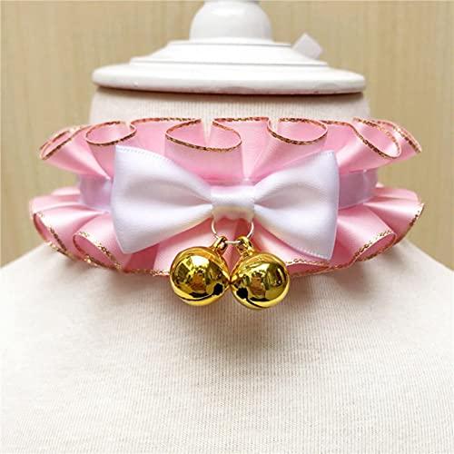Simpatica sciarpa per animali domestici Collana con colletto per bavaglino rosa Principessa Collana con colletto per cani dolce Papillon con campana Cinturino per cuccioli di cucciolo Yorkie Chihuahua