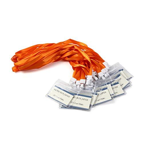 モノボックス ネームホルダー 壊れにくいU字タイプ 大き目名刺ケース 首掛けイベント用 防水機能 ストラップ幅1.5cm (オレンジ, 20本セット)