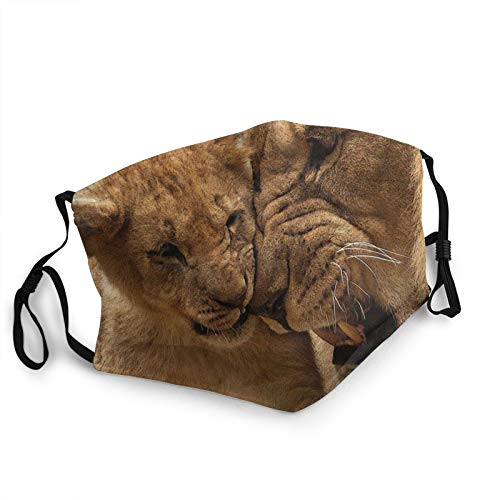 Unisex Balaclava Wild Animals Lion Family Lioness Cub Theme 3D Print Face Mask Windproof Bandana Replaceable Filter Balaclavas for Men Women