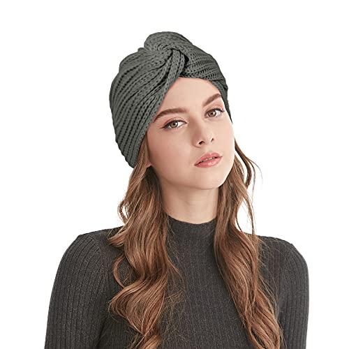 Lades - Gorro de punto para mujer con diseño de turban, para mujer, gris oscuro, Talla única