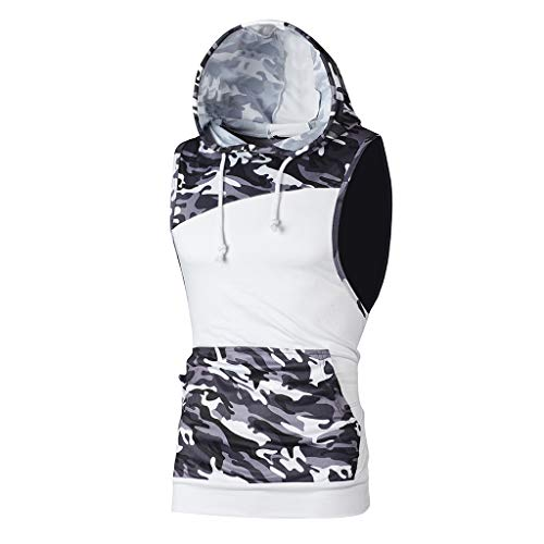 iHPH7 Tank Tops Men Workout Hooded Tank Tops Bodybuilding Muscle Cut Off T Shirt Sleeveless Gym Hoodies Men Camouflage Patchwork Sleeveless T Shirt Hooded Blouse M White