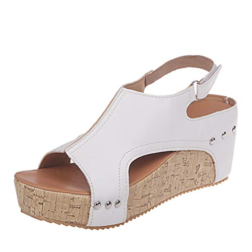 AIni Damen Schuhe Sommer Mode Elegant Open Toe Breathable Strand Sandalen Rom Lässige Solid Color Wedges Schuhe Beiläufiges Strand Party Schuhe(37,Weiß)