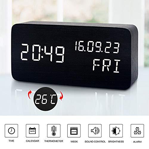 Mumuwin Houten wekker met 3 niveaus instelbare helderheid spraakbesturing kleine digitale bureauwicker met dag/datum/temperatuur USB/batterijvoeding voor thuis, zwart/wit