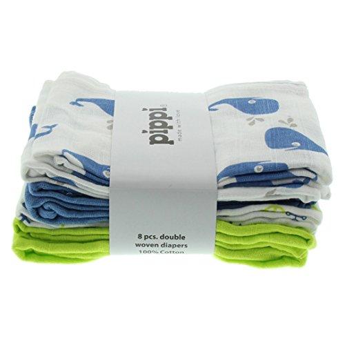 pippi Diapers AO-Printed (8-Pack) Echarpe, Bleu (Parisian Blue), Unique (Taille Fabricant: One Size) Bébé garçon