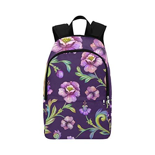 NANA Best Bookbag Puple Spring Beautiful Retro Peony Durable Water Resistant Classic College Bag for Boys Bags to School Outdoor Daypack Sports Cooler Bag