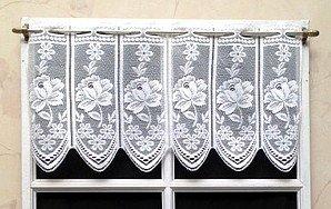 Rideau Brise bise Jacquard 30 cm Blanc