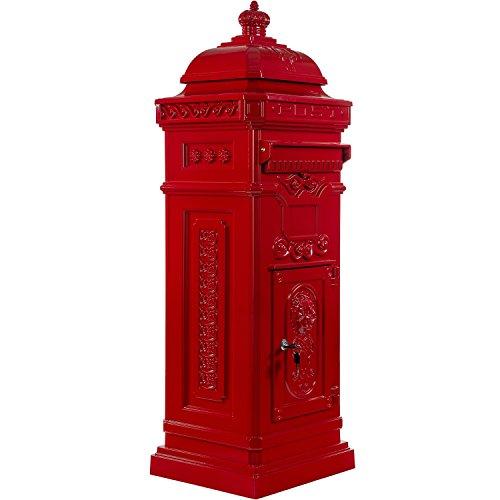Maxstore Antiker englischer Standbriefkasten, rostfreies Aluminium, Höhe: 102,5 cm, Farbe: Rot