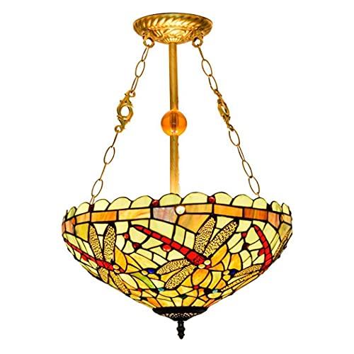 DALUXE Luz de Techo de Estilo Tiy, lámpara de Colgante de Montaje Semi de Color Manchado con Pantalla de 16 Pulgadas, lámparas de 3 Luces arañas rústicas invertidas para Dormitorio