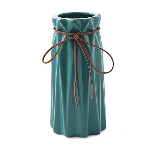 HYYYH Jarrón de cerámica nórdica Decoración Interior/Exterior Conveniente for el Dormitorio de Noche/Sala de Estar/Mesa de Comedor, 5 Colores, 18,5 cm / 24,5 cm (Color : Blue, Size : 18.5CM)