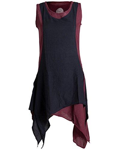 Vishes - Alternative Bekleidung - Ärmelloses Zipfeliges Lagenlook Kleid/Tunika aus handgewebter Baumwolle dunkelrot-schwarz 32