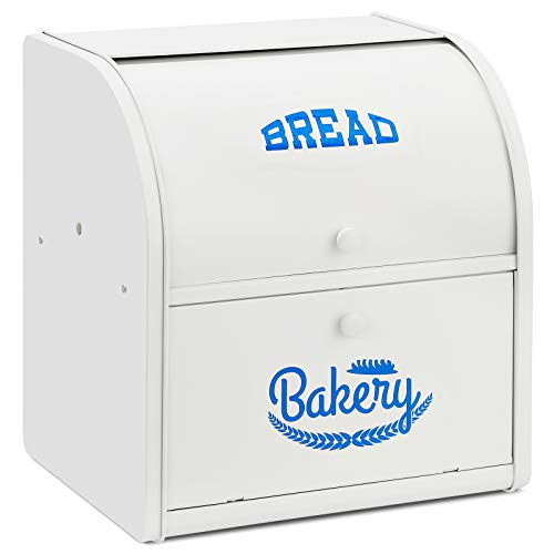 2 Layer Metal Bread Boxes, Bread Box Storage Bin Kitchen Container with Roll Top Lid Iron Countertop Containers Metal Food Storage Bread Keeper Large Capacity Home Kitchen Counter, White