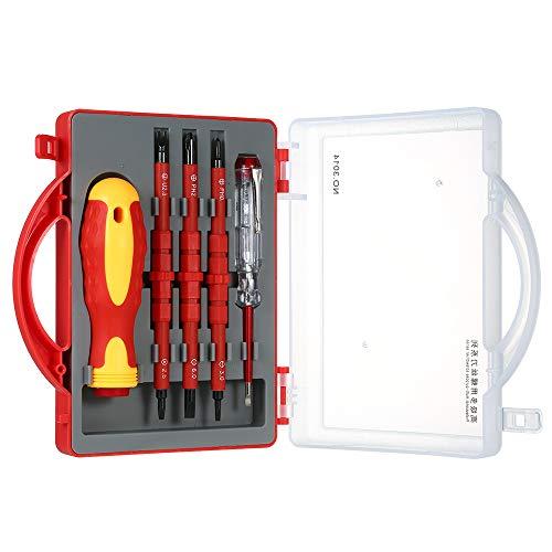 Ajcoflt 5 pcs 500 V Isolado Chaves De Fenda Set com Slotted Magnético Phillips Pozidriv Bits e Caneta de Teste Elétrico Kit de Ferramentas de Reparo do Trabalho