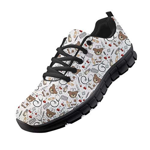 chaqlin Cartoon Bär Doktor Print Krankenschwester Schuhe Sneaker für Frauen Männer Casual Sport Gym Laufschuhe Sprint Sommer Walking Schuhe EU42