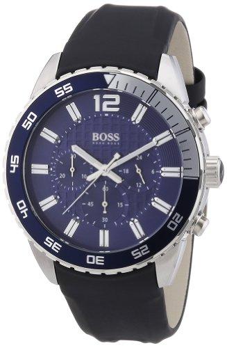 Hugo Boss Blue Dial Stainless Steel Rubber Chrono Quartz Men's Watch...