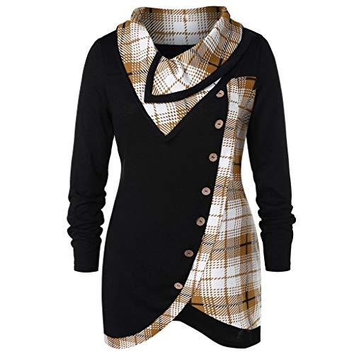 VECDY Damen Pullover,Räumungsverkauf- Herbst Frauen Langarm Hoodie Sweatshirt Pullover mit Kapuze Baumwollmantel Pullover Lässige hohe Kragen warmen Pullover Hoodie (40, V-S-F)